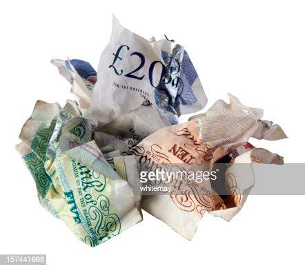 Credit crunch - crumpled British bank notes