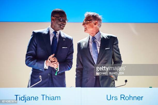 Credit Suisse CEO Tidjane Thiam and chairman Urs Rohner arrive for the annual shareholders' meeting of the Swiss banking group on April 28 2017 in...