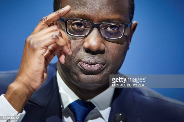 Credit Suisse CEO Tidjane Thiam attends the annual shareholders' meeting of the Swiss banking group on April 28 2017 in Zurich / AFP PHOTO / Michael...