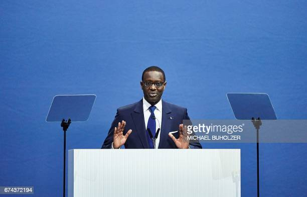 Credit Suisse CEO Tidjane Thiam delivers a speech during the annual shareholders' meeting of the Swiss banking group on April 28 2017 in Zurich / AFP...