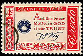 """Part of the American Credo issues of 1960-61. And this be our motto, """"In God we trust"""" by Francis Scott Key."""