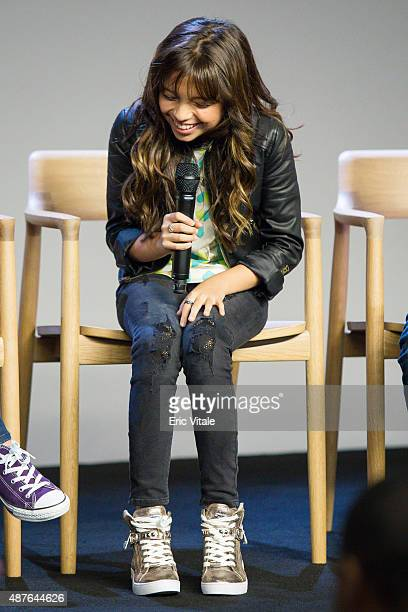 Cree Cicchino speaks at the Apple Store Soho Presents Meet the Cast 'Nickelodeon's Game Shakers' at the Apple Store Soho on September 10 2015 in New...