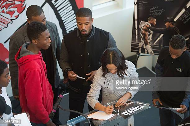 'Creed' actress Tessa Thompson signing autographs during Big Brothers Big Sisters of Metro Atlanta mural unveiling on November 10 2015 in Atlanta...