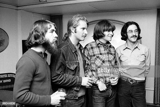 Creedence Clearwater Revival at a press conference for the band in Copenhagen April 1970 LR Doug Clifford Tom Fogerty John Fogerty Stu Cook