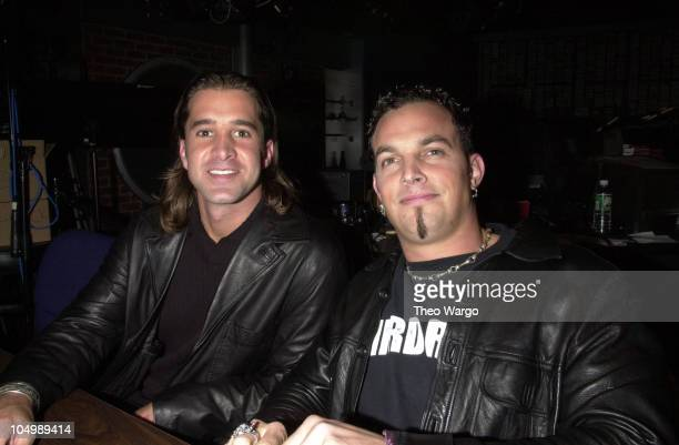 Creed's Scott Stapp Mark Tremonti during Creed perform a special acoustic set at 923 KRock studios in New York City at KRock Studios in New York City...