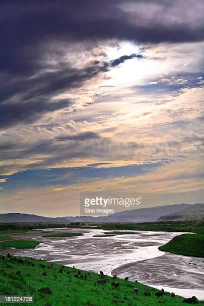 Creek along prairie in Inner Mongolia