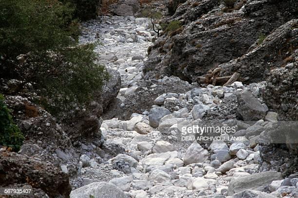 Creek bed in the Samaria gorge Samaria national park Crete Greece