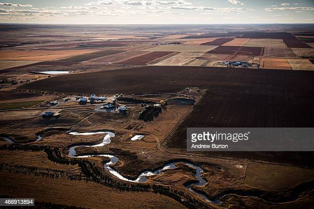 A creek weaves through the rolling hills of South Dakota near the land where the proposed Keystone XL pipeline would pass on October 13 2014 south of...
