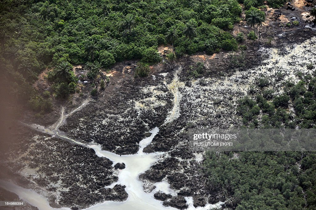 Creeks devastated as a result of spills from oil theives at Nembe Creek in Niger Delta on March 22, 2013. Shell Petroleum Development Company of Nigeria (SPDC) has threatened to shut down production in April for nine days in the entire Nembe Creek Truck Line (NCTL) to remove a number of bunkering points on pipelines vandalised by oil thieves in the region. 'Whenever we observe a spill, or have a spill on our lines, we shut down production to depressurize and isolate the line, only then can we safely repare our lines because it is then safe to manipulate the line', said Jurgen Jonzen, SPDC corporate pipeline asset manager. Last year, 157 bunkering points were removed and 116 were leaking on the whole SPDC exploitation. Since 2009, SPDC has exprienced an upsurge in vandalisation of pipeline network by criminals causing severe environmental devastation of the region and forcing the company to lose 60 000 barrels daily this year.