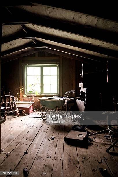 Creepy attic with toys