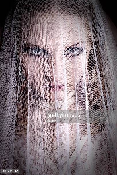 Creepy Bride Under Crumpled Veil