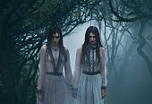 The girls are crying. Young ladies in ancient dresses walking through the woods in search of a victim. Foggy, spooky forest. Photoshoot in the style of horror. Mystical photo. Fashionable tinted.Creat