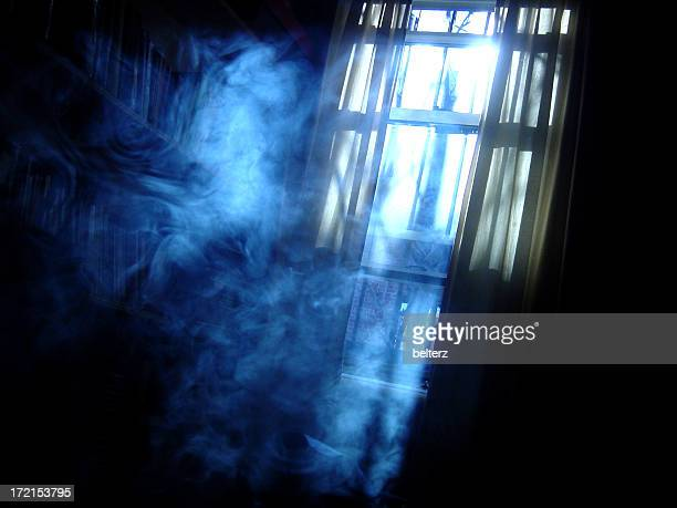 Creepy shot of a smoky room at night