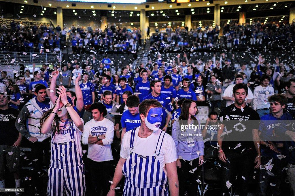 Creighton Bluejay fans cheer their team introduction during their game against Presbyterian Blue Hose at CenturyLink Center on November 18, 2012 in Omaha, Nebraska.