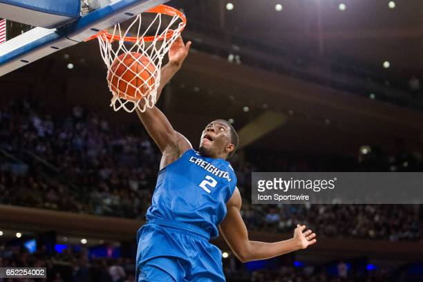 Creighton Guard Khyri Thomas dunks on a layup during the championship matchup in the BigEast Conference men's basketball tournament featuring the top...