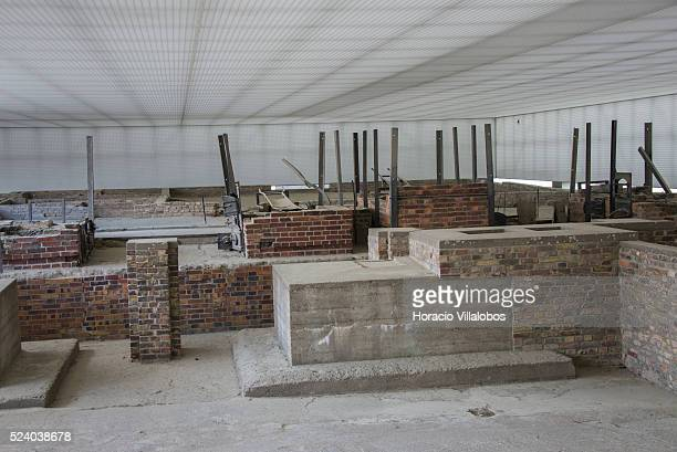 Crematorium in Station 'Z' in Sachsenhausen concentration camp Oranienburg Germany 16 April 2014 Station 'Z' had four ovens a shotintheneck...