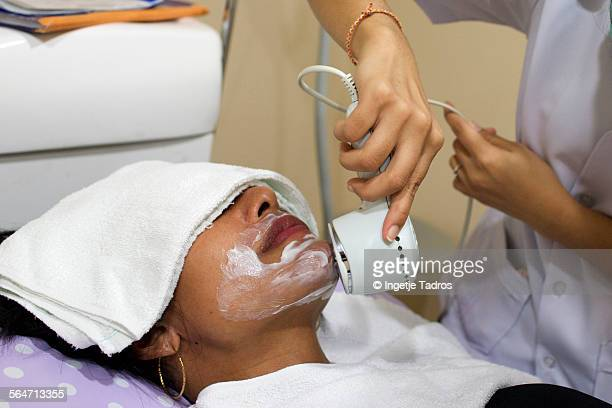 Creme is been applied after facial hair removal