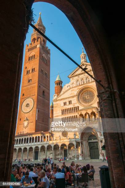 Cremona Cathedral and Torrazzo at sunset. Cremona, Italy.