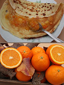 Crepe of the candlemas with jam of oranges and clementines of Corsican