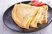 crepe with sugar and strawberry