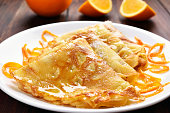 Crepes Suzette on white plate, close up view
