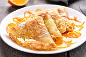 Crepes Suzette with orange sauce, close up view