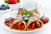 crepes with berries and chocolate sauce for breakfast on plate, closeup, horizontal