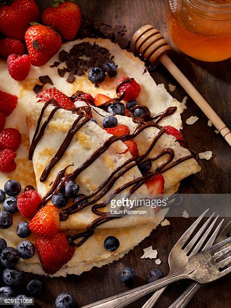Crepes with Fresh Berries and Chocolate Sauce