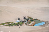 Crescent Moon Spring and the pavilion, Dunhuang of China