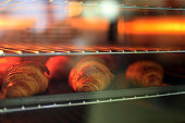 Croissant baking in the oven