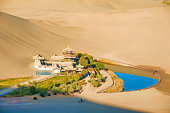 """Crescent Spring and Mingyue Pavilion in the morning, Dunhuang of ChinaPlease see other similar pictures from my portfolio:"""