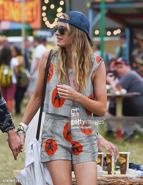 Cressida Bonas attends the Glastonbury Festival at Worthy Farm Pilton on June 27 2015 in Glastonbury England