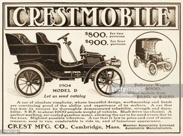 A Crestmobile automobile and delivery wagon are shown in a magazine advertisement from 1904 The car has an aircooled gasoline motor