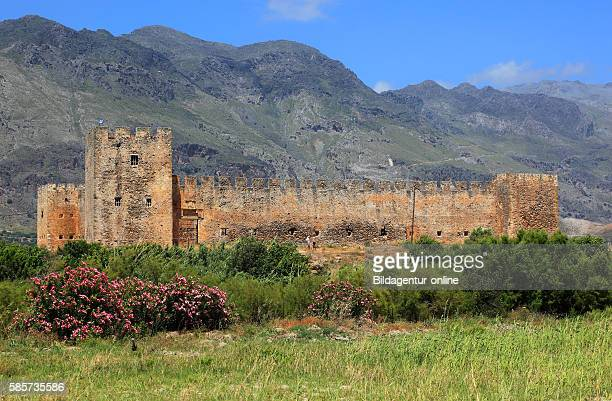 Crete look at the fortress Frangokastello on the south coast of the Mediterranean island and the Kryoneritis mountains in the background