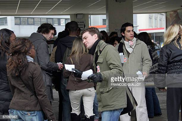 French student union Unef leader Bruno Julliard delivers leaflets 15 March 2006 at the Creteil university as students protest against the First...