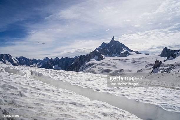 Crevasse on glacier, Mer de Glace, Mont Blanc, France