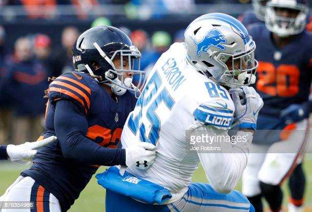 Cre'von LeBlanc of the Chicago Bears attempts the tackle Eric Ebron of the Detroit Lions in the fourth quarter at Soldier Field on November 19 2017...