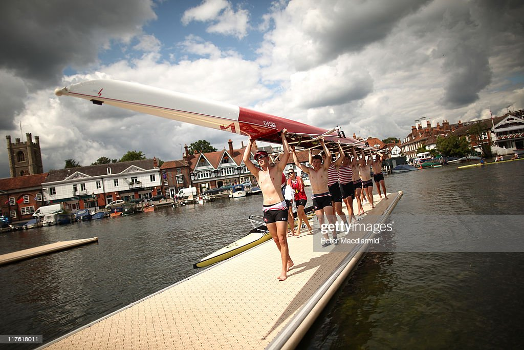 A crew carry their boat after competing in the Henley Royal Regatta on June 29, 2011 in Henley-on-Thames, England. The 172-year-old rowing regatta begins today and takes place on The River Thames over five days.