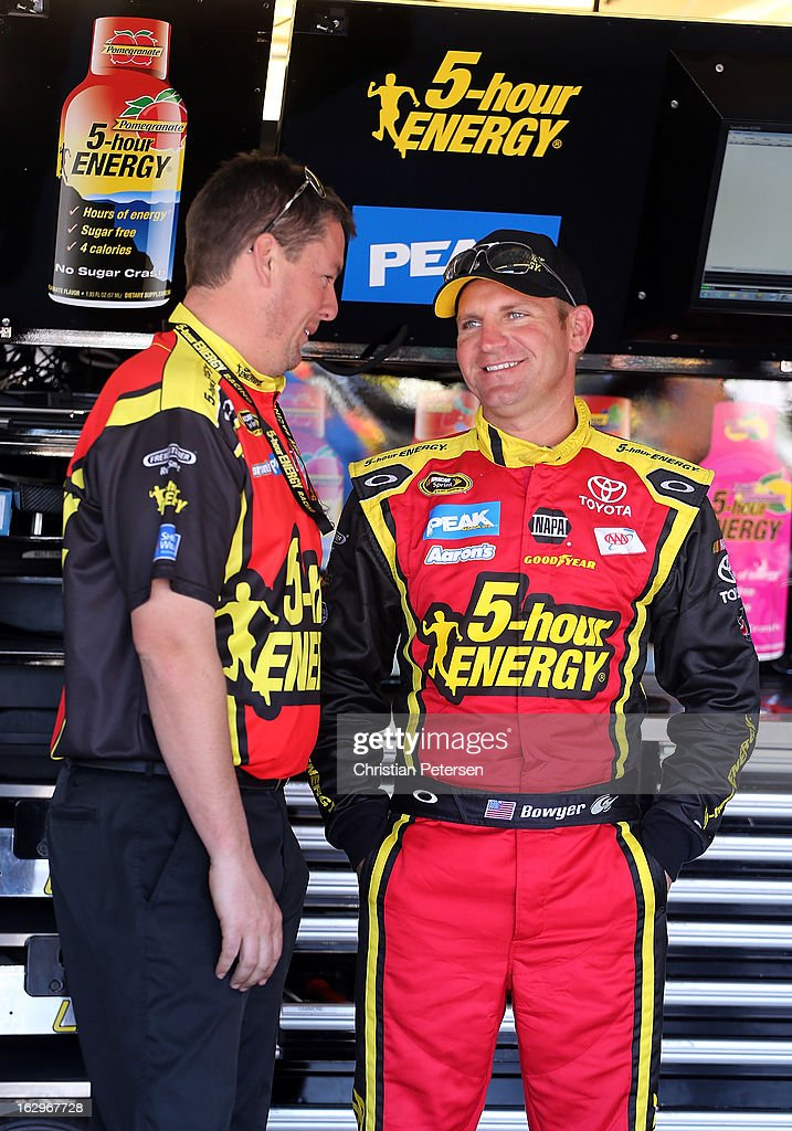 Crew chief Brian Pattie talks with <a gi-track='captionPersonalityLinkClicked' href=/galleries/search?phrase=Clint+Bowyer&family=editorial&specificpeople=537951 ng-click='$event.stopPropagation()'>Clint Bowyer</a>, driver of the #15 5-hour ENERGY Toyota, in the garage during practice for the NASCAR Sprint Cup Series Fresh Fit 500 at Phoenix International Raceway on March 2, 2013 in Avondale, Arizona.