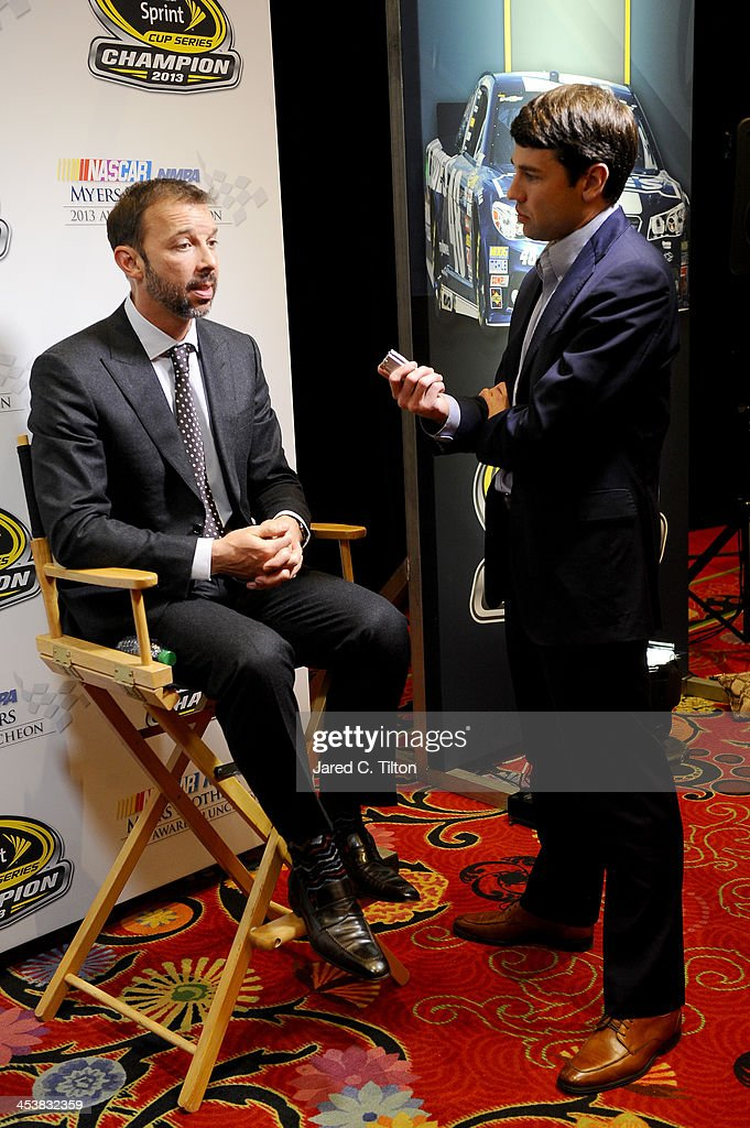 Crew chief <a gi-track='captionPersonalityLinkClicked' href=/galleries/search?phrase=Chad+Knaus&family=editorial&specificpeople=564401 ng-click='$event.stopPropagation()'>Chad Knaus</a> answers questions from the media after the NMPA Myers Brothers Awards Luncheon at the Encore Las Vegas on December 5, 2013 in Las Vegas, Nevada.