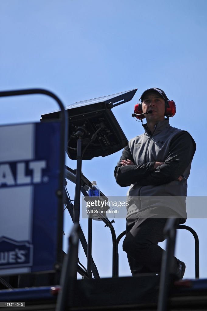Crew Chief Chad Knaus stands on top of a hauler during practice for the NASCAR Sprint Cup Series Food City 500 at Bristol Motor Speedway on March 14, 2014 in Bristol, Tennessee.