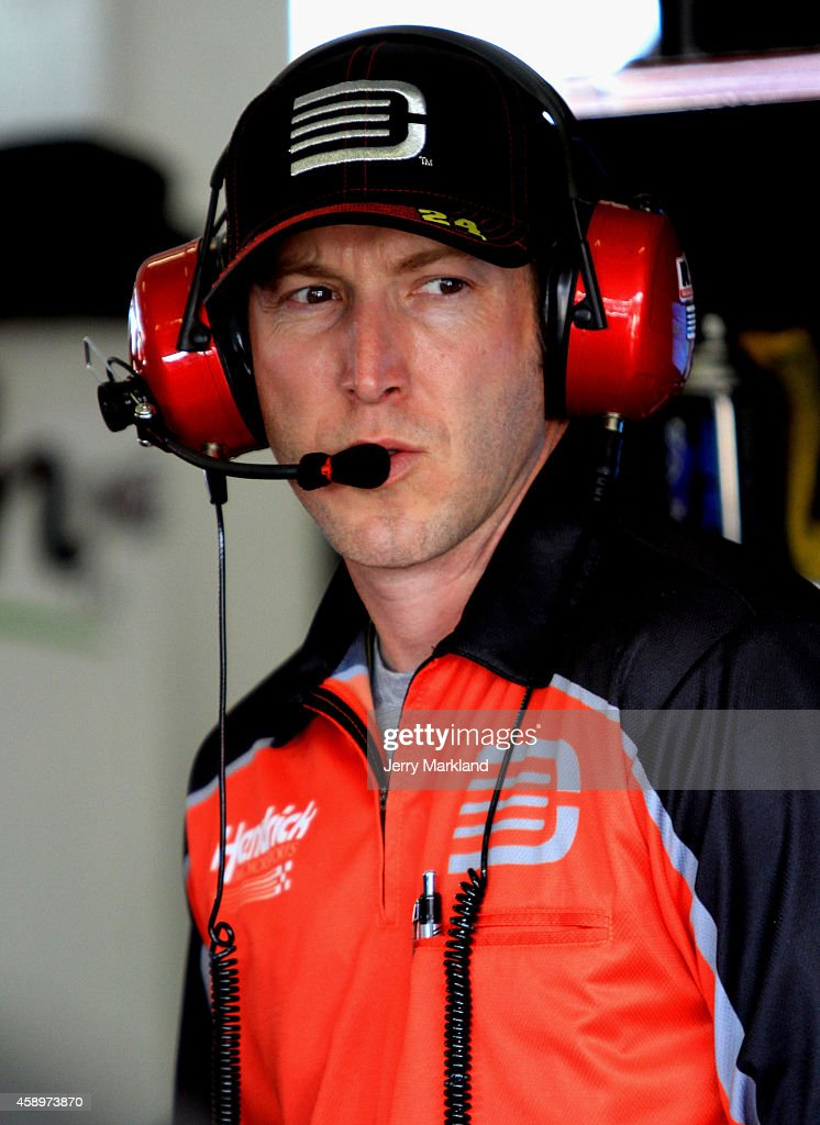Crew chief for Jeff Gordon driver of the Drive To End Hunger Chevrolet Alan Gustafson looks on in the garage area during practice for the NASCAR...