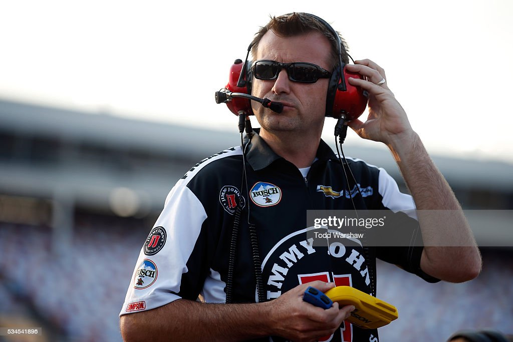 Crew chief Rodney Childers stands on the grid during qualifying for the NASCAR Sprint Cup Series Coca-Cola 600 at Charlotte Motor Speedway on May 27, 2016 in Charlotte, North Carolina.