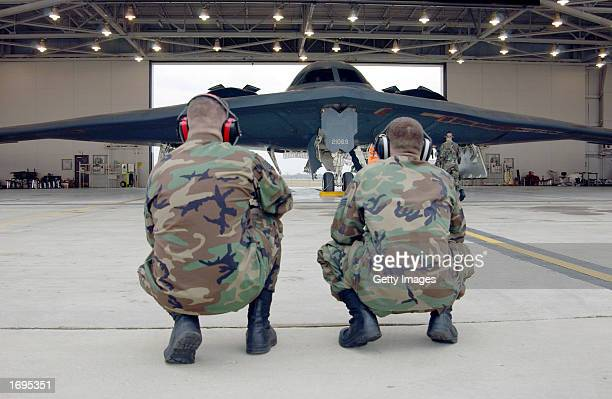 B2 crew chiefs Staff Sgt Jay Purnie and senior airman Heath Traugh watch their jet the Spirit of Indiana run up its engines at Whiteman Air Force...