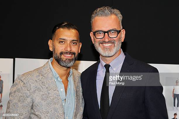 Crew designers Tom Mora and Frank Muytjens backstage at the JCrew presentation during MercedesBenz Fashion Week Spring 2015 at The Pavilion at...