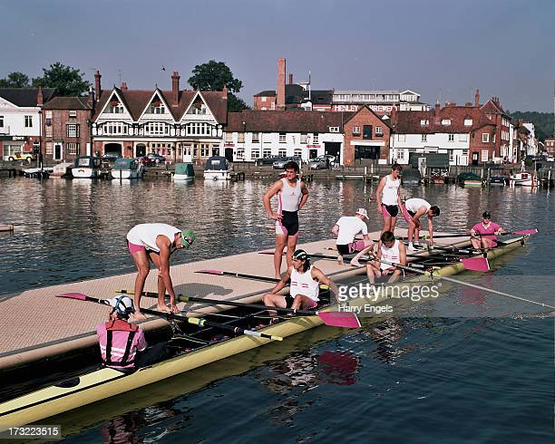 A crew from Griffen Boat Club prepare to head out onto the water during the Henley Royal Regatta on July 7 2013 in HenleyonThames England