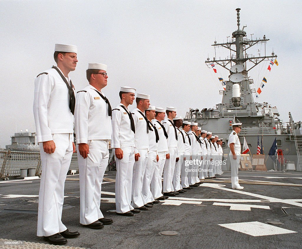 Crew from the USS Stethem and Guided Missile Destroyer waits to be dismissed and begin a two–day weedend leave