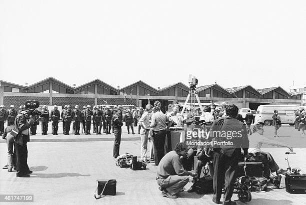 A TV crew getting ready for filming the funerals of the President of the Socialist Federal Republic of Yugoslavia Josip Broz Tito Belgrade 8th May...