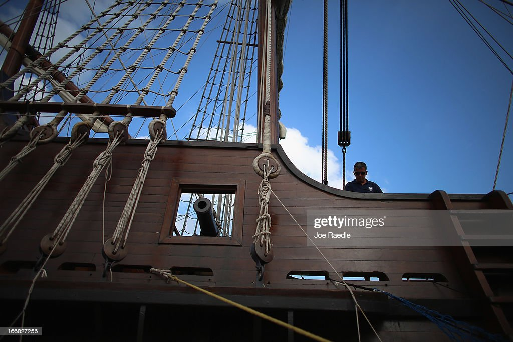 Crew member Juanj Martin works aboard El Galeón, a replica of a 16th century galleon, during Florida's commemoration of the 500th anniversary of Spanish explorer Juan Ponce de Leon's arrival on the shores of Florida on April 17, 2013 in Miami, Florida. The boat will remain in Miami until April 28, after which it continues North along Florida's east coast and stops along the way in Fort Lauderdale, Cape Canaveral, and St. Augustine.