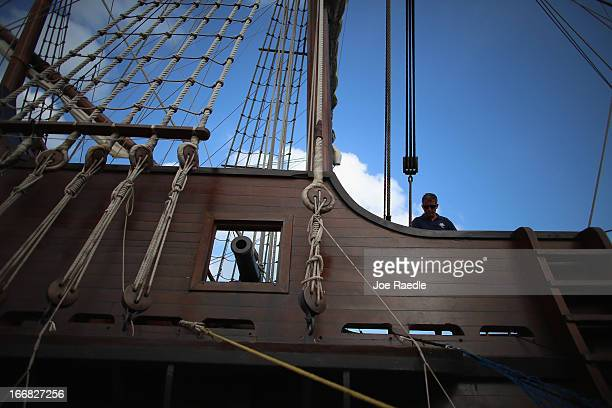 Crew member Juanj Martin works aboard El Galeón a replica of a 16th century galleon during Florida's commemoration of the 500th anniversary of...